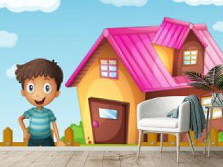 boy, dog and house