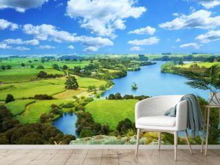 Picturesque landscape with river