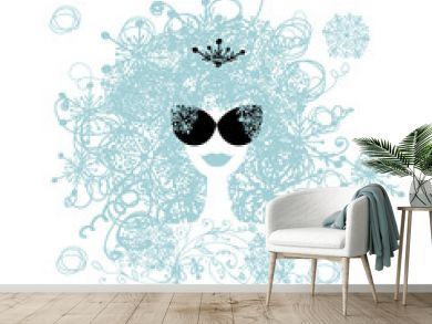 Stylized woman hairstyle with snowflake. Winter concept