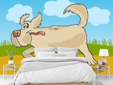 Running sheepdog dog cartoon illustration