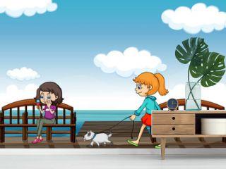 Two girls near the sea