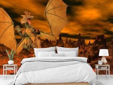 Dragon flight - 3D render