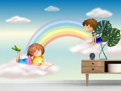A rainbow with kids