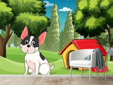A dog near a doghouse with a dog food