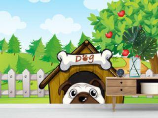 A dog inside a dog house