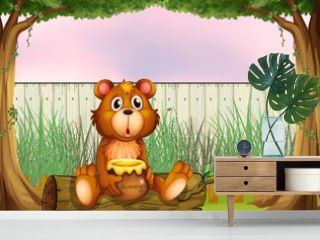 A bear above a trunk holding a honey