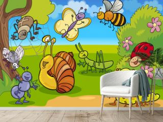 cartoon insects on the meadow