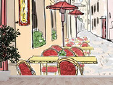Street cafe in old town sketch illustration