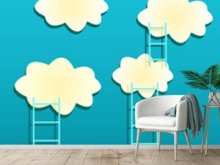 Yellow Clouds with Ladders on Green Background