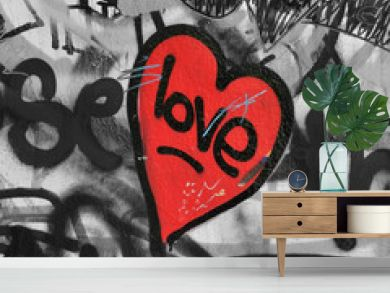 red painted heart