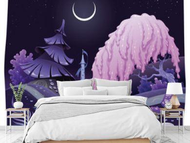 Fantasy nightly landscap. Vector illustration.