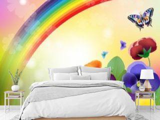 Floral background,rainbow, colorful pansies flowers