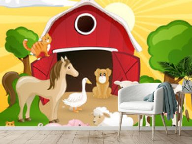Vector illustration of farm animals infront of a barn