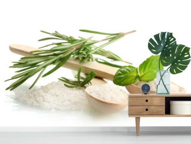 salt in spoons with fresh basil and rosemary isolated on white