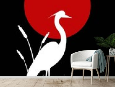 heron silhouette with giant moon background