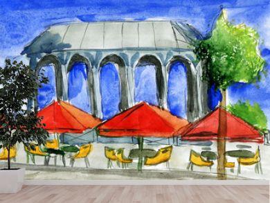 Cafe opposite the gazebo