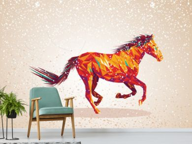 Colorful abstract triangle art horse background