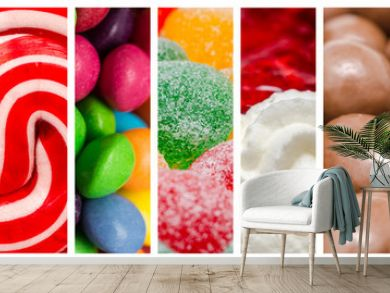 Delicious Sweets Background Collage With Candies