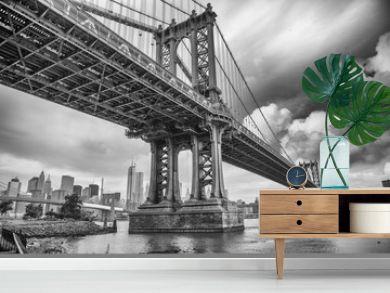 The Manhattan Bridge, New York City. Awesome wideangle upward vi