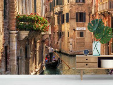 Venice, Italy. Gondola on a romantic canal.