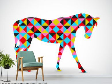 Abstract vector horse with geometric pattern