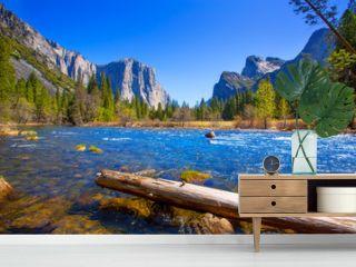 Yosemite Merced River el Capitan and Half Dome