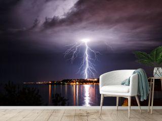 Lightning over the seaside