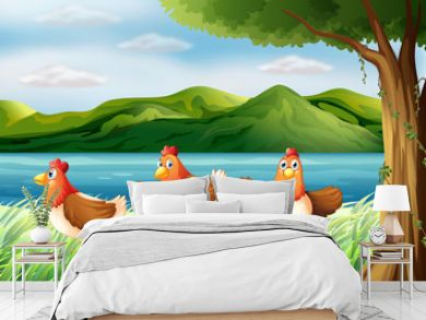 The three chickens at the riverbank