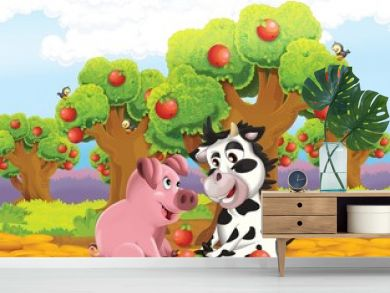 The life on the farm - illustration for the children
