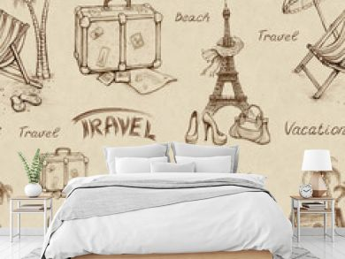 Seamless pattern with travel illustrations