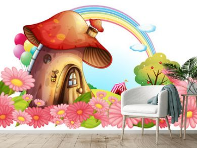A mushroom house with a garden of flowers