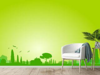 Mediterrane Landschaft Silhouette grün