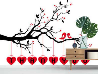 birds on tree with red hearts, vector