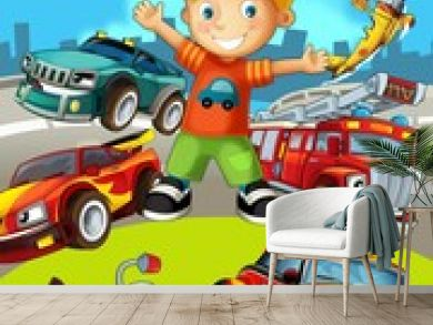 The vehicles - the label with kid - illustration