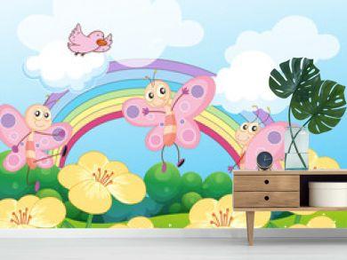 A garden with butterflies and a bird