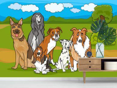 cute purebred dogs group cartoon illustration
