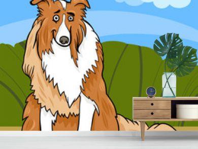 collie purebred dog cartoon illustration