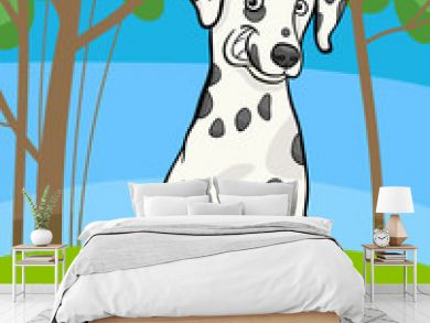 dalmatian purebred dog cartoon illustration