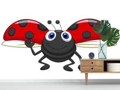 Cute ladybug cartoon flying