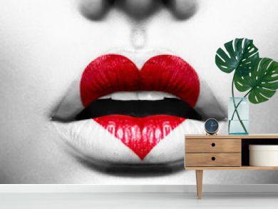 Beauty Sexy Lips with Heart Shape paint