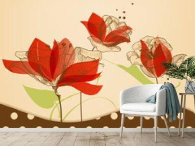 Retro floral beauty background