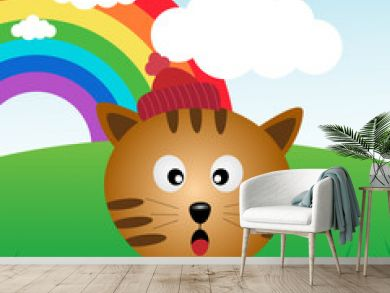 Cat in the forest with rainbow