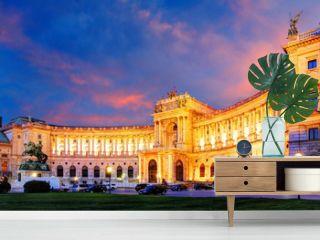 Vienna Hofburg Imperial Palace at night, - Austria