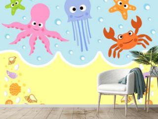 Sea animals cartoon background card