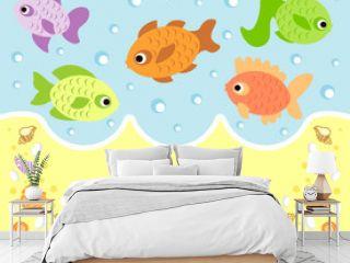 Sea animals cartoon background card with fish