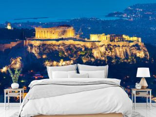 The Acropolis in Athens, Greece, at night