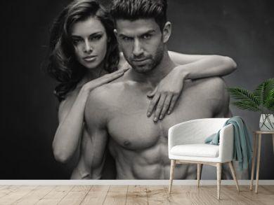 Black&white photo of sensual couple