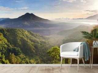 Panorama of Batur and Agung volcano mountain Bali, Indonesia