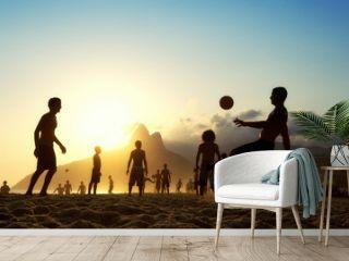 Sunset Silhouettes Playing Altinho Futebol Beach Football Brazil