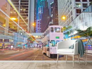 tram on the road the night of Hong Kong